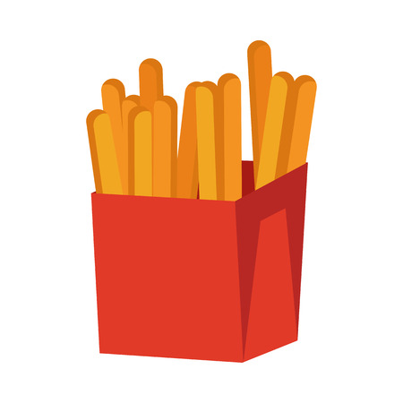 unhealthy diet: French fries isolated on white. Crispy potatoes in red paper bag. Junk unhealthy food. Consumption of high calories nourishment fast food. Part of series of promotion healthy diet and good fit. Vector