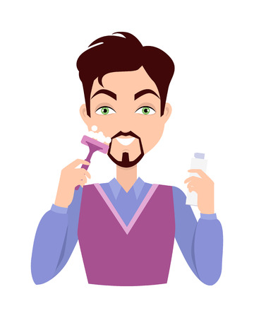 face wash: Stages of man face wash. Washing with cream cleanser or soap, shaving with razor, using moisturizer or lotion after shave. Boy cares about his look. Part of series of face care. Vector illustration Illustration