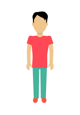 personage: Male character without face in red t-shirt and green pants vector in flat design. Man template personage figure illustration for concepts,   infographic. Isolated on white background. Illustration