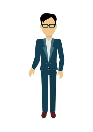 face off: Male character without face in suit vector in flat design. Man template personage figure illustration for invite concepts, mobile app pictogram, logos, infographic. Isolated on white background.