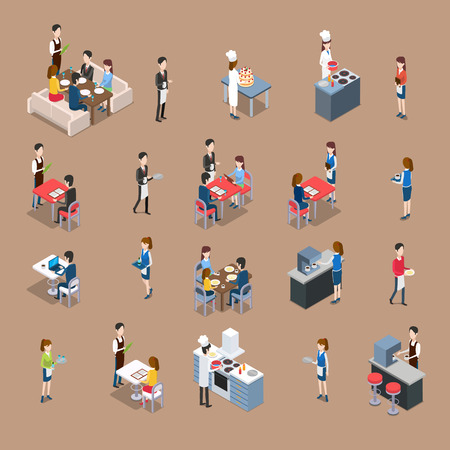 Set of restaurant personnel, customers icons. Vector in isometric projection. Waiter at the table, visitors eating and ordering dinner, chef cooks in kitchen, barman making coffee. For ad, app, game Ilustracja