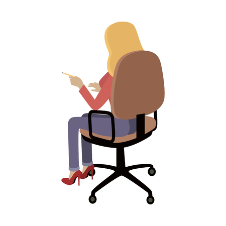 isoated: Woman sitting on the chair and pointing on something by finger. Back view. Women at work. Endless work seven days a week. Working moments. Part of series of work at the office. Vector illustration