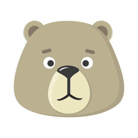 guise: Teddy bear mask isolated on white. Cartoon mask of a cute animal to celebrate happy events at kindergarten, preschool, birthday, children holiday festival. Sticker for toddler. Vector in flat style
