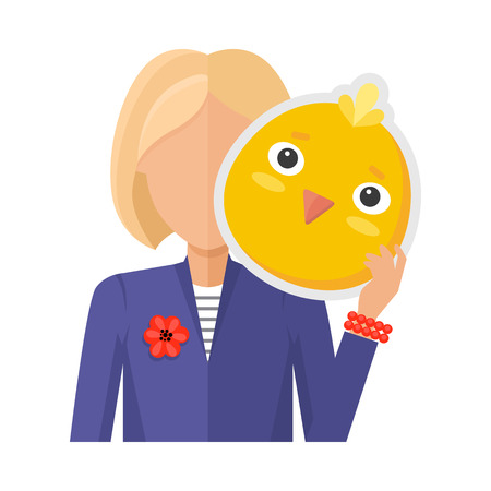 incognito: Blonde woman character in suit with chicken mask in hand vector. Flat design. Masquerade animal clothing and party costume. Psychological portrait and hidden personality. Isolated on white background