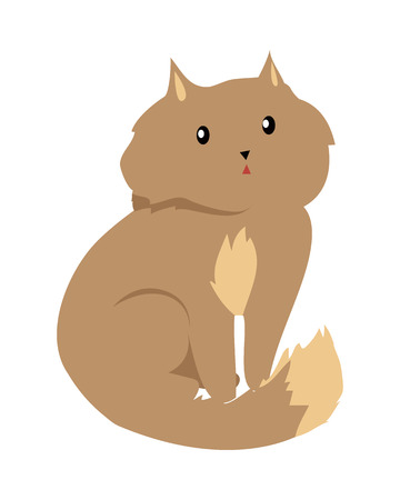 furry: Cat isolated on white. Domestic cat, feral cat, house cat is a small, typically furry, carnivorous mammal. Sticker for children. Fluffy little brown kitten. Vector design illustration in flat style.