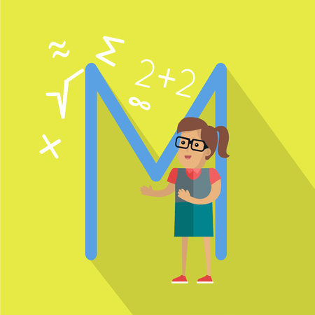 mathematician: Science alphabet vector concept. Flat style. ABC element. Female character in glasses surrounded mathematical symbols, letter M behind. Educational glossary. On yellow background with shadow