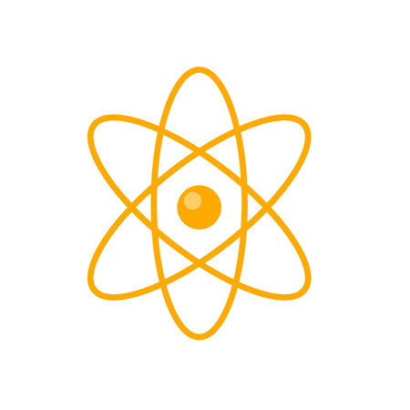 quantum physics: Atom core with electrons orbits vector in flat style design. Nuclear power.  Illustration for scientific and educational concepts. Quantum physics. Microscopic particle. Isolated on white background