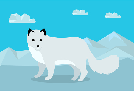 untamed: Polar fox on snowy mountains background. Flat style vector. Wild predatory animal. North fauna species in habitat. For nature concepts, childrens books illustrating, printing materials