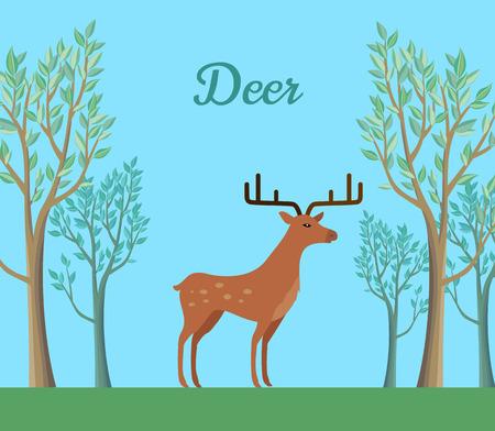 Red deer in the forest. Ruminant mammal with antler. Red deer, sika deer, barasingha, reindeer. Deer in tundra or in tropical rainforest. Wildlife concept. Herbivorous animal. Vector illustration