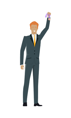 constant: Successful man banner. Professional growth. Man wins gold medal. Achieves best results due to constant learning. Business training. Successful motivational management. Vector illustration