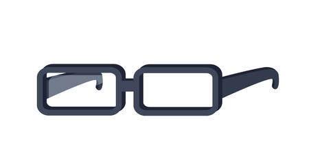 ocular: Glasses vector in flat style design. Classic rectangular eyeglasses illustration. Fashion, medical, style accessory. Optical instrument for good eyesight. Isolated on white background.