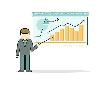 couching: Businessman in business suit making a presentation near whiteboard with infographics. Shows business graphs. Business seminar. Business consulting, business strategy concept.