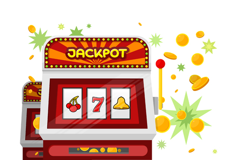 slot in: Slot machine web banner isolated on green. One arm gambling device. Casino jackpot, slot machine, fruit machine, luck game, chance and gamble, lucky fortune. Vector illustration in flat style Illustration