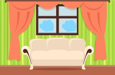 Home Interior Illustration With Beige Sofa, Brown Floor, Red Curtains,  Green Wallpaper,