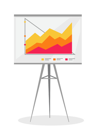 office presentation: Presentation screen with stock lines isolated. Flip Chart. Editable items in flat style for your web design. Part of series of accessories for work in office. Infographics. Vector illustration