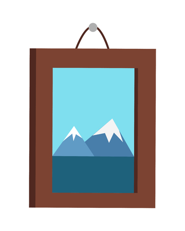 background picture: Picture in frame hanging on the wall. Mountain landscape on the picture. Picture frame with natural landscape. Design element for interior. Isolated vector illustration on white background.