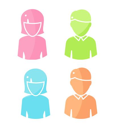 arbitrario: Conjunto de caracteres personas vectores imagen de usuario en el diseño plano. iconos femeninos y masculinos de color. Ejemplos de identidad en Internet, conceptos, pictogramas de aplicaciones, infografía. Aislado en el fondo blanco.