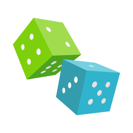 certainty: Dices isolated on a white background. Blue and green falling dices. Make wagers on the outcome of roll of a pair of dice. Gambling luck, fortune and bet, risk and leisure, jackpot chance. Vector