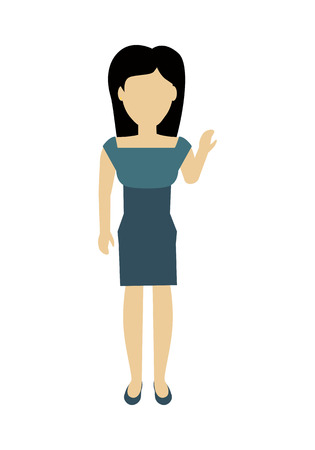 face off: Female character without face in blue dress vector in flat design. Woman template personage figure illustration for feminist concepts, fashion app,  infographic. Isolated on white background. Illustration