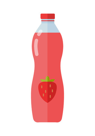 Fruity dessert beverage vector. Flat design. Labeled bottle of strawberry juice or yogurt with berry. Packaging for liquid product. Illustration for farm husbandry, milk production, grocery store ad. Illustration