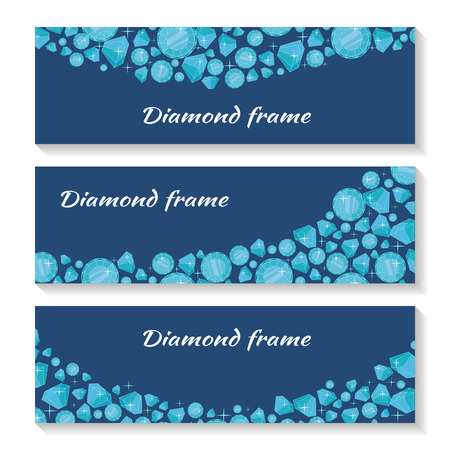 diamond stones: Diamond frame templates set. Jewelry diamonds of different size. Luxury jewels concept. Precious stones on dark blue background. For flyers, posters, greeting cards, banners. Vector illustration Illustration
