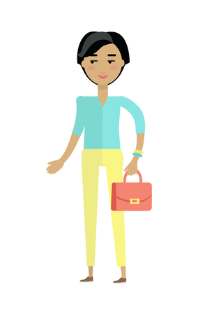 woman s bag: Beautiful young woman with cheerful attitude. Woman in blue shirt and yellow pants with red lady s bag. Smiling young woman personage in flat design isolated on white background. Vector illustration