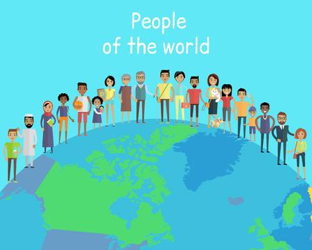 Les gens du concept de vecteur mondial dans la conception à plat sur le monde abstrait. Les couples avec enfants. Peuples de tous âges et races humaines dans les vêtements nationaux, différentes poses et professions de variétés Vecteurs