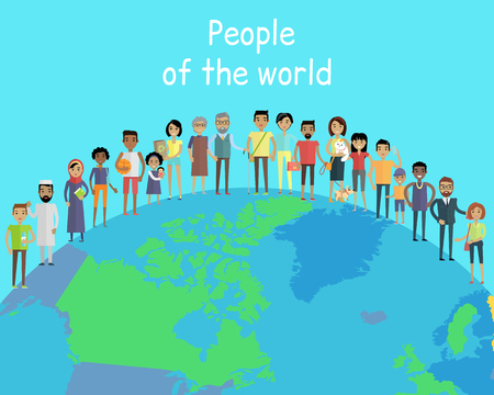 People of the world vector concept in flat design on the abstract globe. Couples with children. Peoples of all ages and human races in national clothes, different poses and variety professions