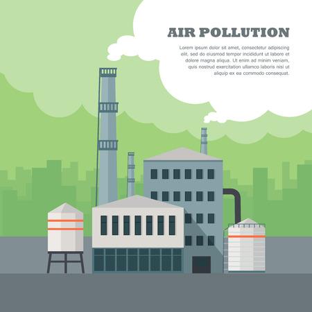 concepto de la contaminación del aire. Edificio de la fábrica con las tuberías en plana. La contaminación del aire por el humo saliendo de dos chimeneas de la fábrica. chimeneas de la central eléctrica de emisión de humo sobre la ciudad urbana. ilustración vectorial