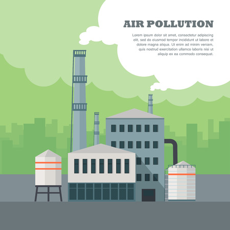 Air pollution concept. Factory building with pipes in flat. Air pollution by smoke coming out of two factory chimneys. Power plant smokestacks emitting smoke over urban cityscape. Vector illustration