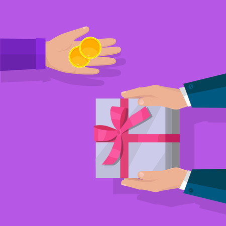 holiday gifts: Buying gifts vector in flat design. Surprise in colored box with ribbon. Hands with packed present and coins. For shopping, holiday sales, discounts concepts, event management companies