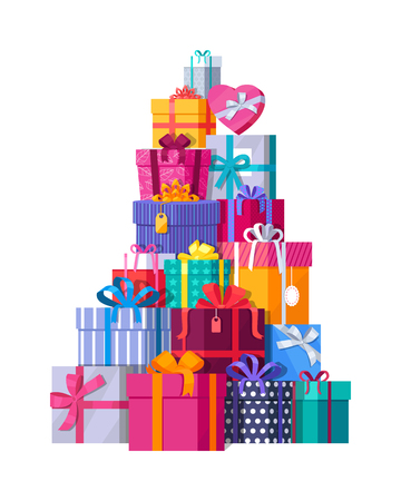 a lot: Mountain of colorful gift boxes on white background. Big stack of christmas presents. Decorative stylish wrap for presents package on boxes with ribbons and bows. Gifts web icon sign symbol. Vector
