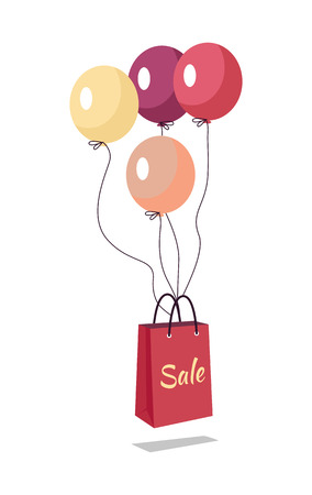 Shopping bag with text sale flying on balloons. Marketing message about price reducing. Sale banner retail icon label store and shop purchase. Market commerce illustration. Shopping bag in air. Vector Illustration