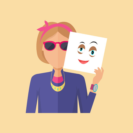 Young sexy girl in glasses with sheet of paper expressing emotion of hapiness. Person covers real feelings under artificial mask. Part of series of people in different emotional states. Vector Illustration