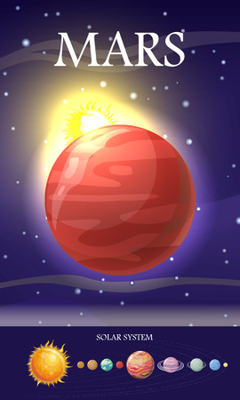 Mars planet. Fourth planet from Sun and second smallest planet in Solar System. Red planet due to iron oxide. Outer space, galaxy and earth. Astronomy science aspect. Sun system. Universe. Vector Illustration