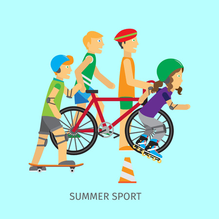 Summer sport. Active way of life conceptual banner. Boy skateboarder, girl rollerblading, guy near the bike and runner. People going in for sport. Sportive teenagers poster. Vector