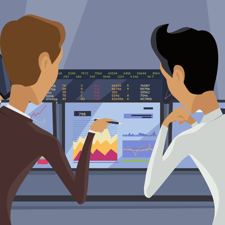 uprzejmości: Modern online trading on stock exchange concept. Flat style design Monitoring of value indexes. Online trading technology. Brokerage trading on the web vector. Flat style design. Businessman at work.