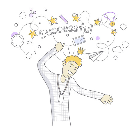 rejoices: Happy man dancing. Man dancing icon. Successful man having fun and dancing. Man rejoices, celebrates his victory, success, winner. Successful banner. Line art. Isolated object on white background.