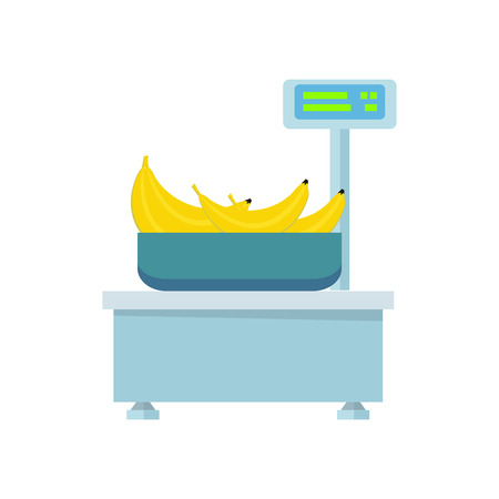 Blue electronic market scale with bananas. Scale icon in flat. Food scale icon. Weight scale icon. Supermarket equipment. Isolated object on white background. Vector illustration.