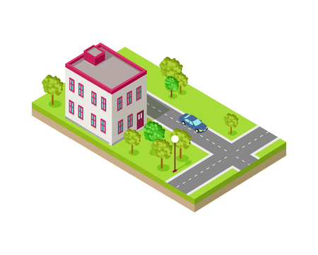 Isometric icon of two storey house near the road. Building house architecture, street of urban town, map and construction, residential office or home. Vector illustration in flat style design. Illustration
