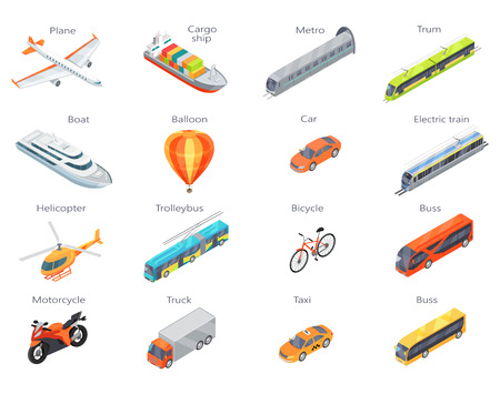 Collection of transport icons. Vector in isometric projection. 3d illustrations of road, railway, flying, water, personal, public and commercial transport with caption. For ad design, app icons, games