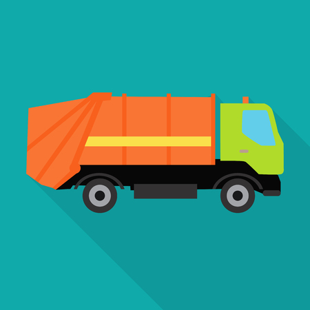 Garbage truck vector illustration in flat style. Car waste transportation picture for conceptual banners, web, app, icons, infographics, logotype design. Isolated on blue background. Illustration