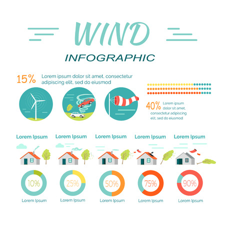 moderate: Wind infographics. Tornado and hurricanes banners. Minimal moderate extensive extreme catastrophic levels. Windmills, tornado twisted car and windsock icons. Percentage sign. Vector illustration