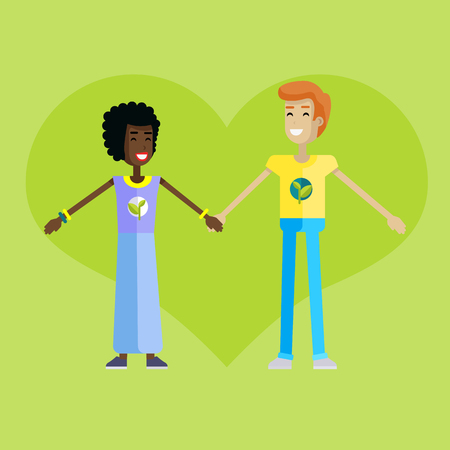 environmentalist: Smiling man and woman with branch and leaves emblem on clothes, standing and holding hands. Ecologist, environmentalist, nature protection activist or volunteer illustration. Flat design. Earth day.