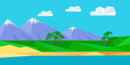 beach landscape: Natural landscape with sea, mountains, sky, clouds, sandy beach. Natural landscape in flat. Mountains landscape, abstract blue panoramic view. Nature background. Vector illustration. Illustration
