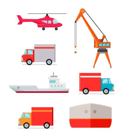 Conjunto de los medios de transporte para la entrega de mercancías. Helicóptero camión excavadora iconos del coche contenedor de barco. transporte de contenedores de logística y distribución. El transporte a cualquier parte del mundo. Carga y descarga