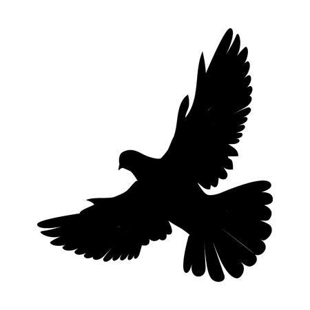 Pigeon Vektor. Religion, Hochzeit, Frieden, Pazifismus, das Konzept in schwarzer Farbe. Illustration für Religion Attribute, Kinder Bücher illustriert. Weiße Taube fliegen ausgebreiteten Flügeln auf weiß isoliert. Standard-Bild - 64621566
