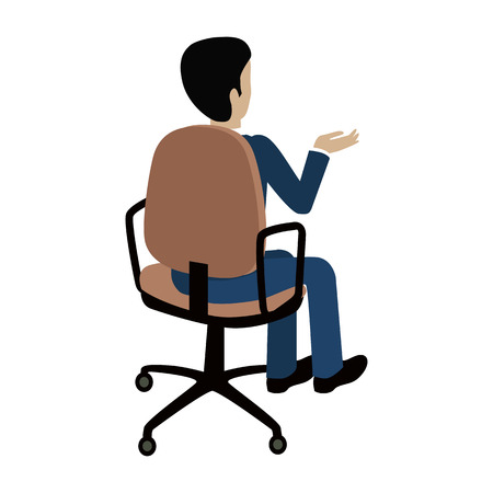 isoated: Man sitting on the chair and pointing on something by hand. Back view. Man at work. Endless work seven days a week. Working moments. Part of series of work at the office. Vector illustration