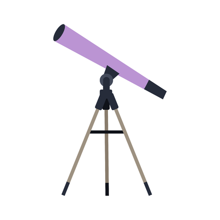 observations: Telescope vector in flat style. Astronomical observations. Observatory equipment and instruments. Illustration for scientific and educational concepts. Isolated on white background Illustration