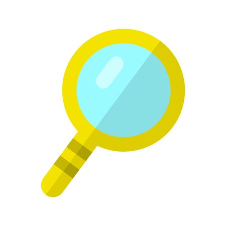 Magnifier vector in flat style. Loupe with yellow frame. Investigation, research symbol. Illustration for searching services and application icons, web design. Isolated on white background
